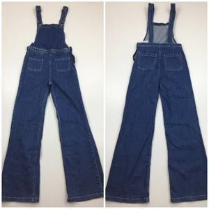 NWT ZARA Medium Wash Flare Leg Denim Overalls
